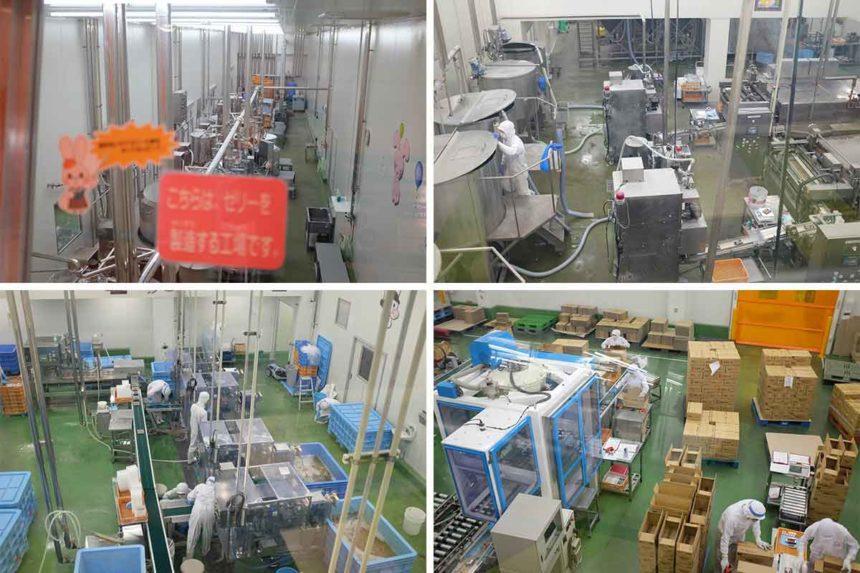 こんにゃくパークの工場見学ゾーンでの作業風景