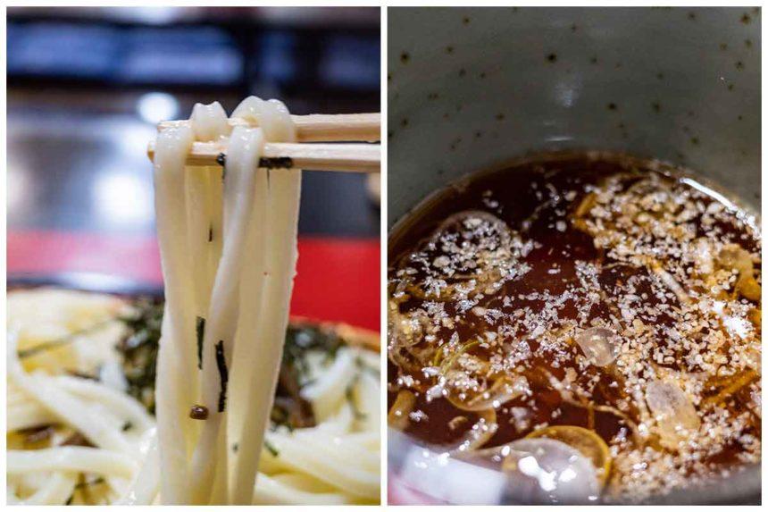 万葉亭の水沢うどんの麺とつゆ