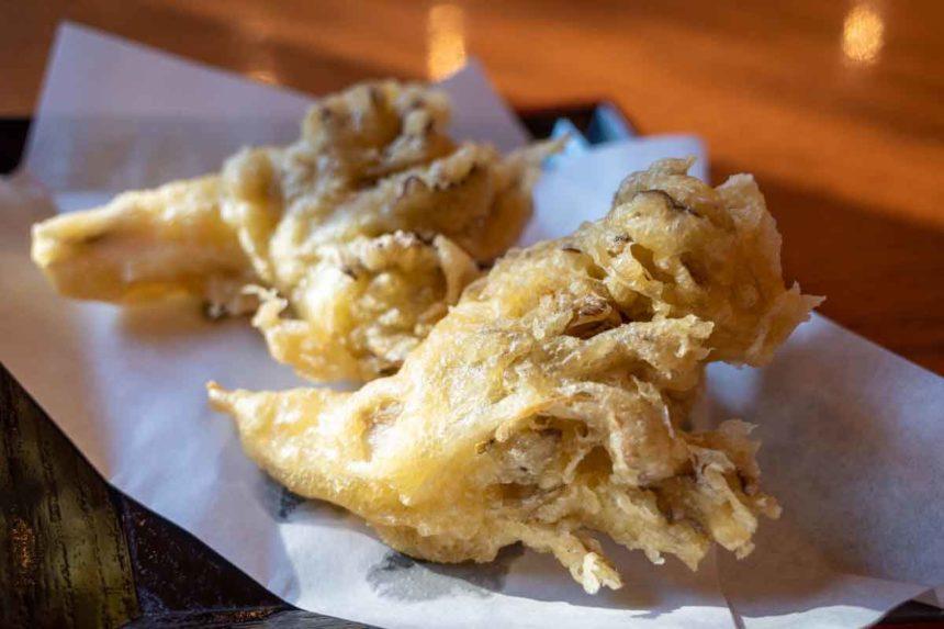 大滝乃湯のお食事処「湯の華」の舞茸天ぷら